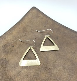 Amaree and Reese Lasercut Brass Open Triangle Earrings