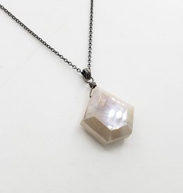 Moonstone Collection - Pentagon Silver, Light Moonstone Necklace
