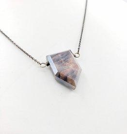 Moonstone Collection - Shield Silver, Dark Moonstone Necklace