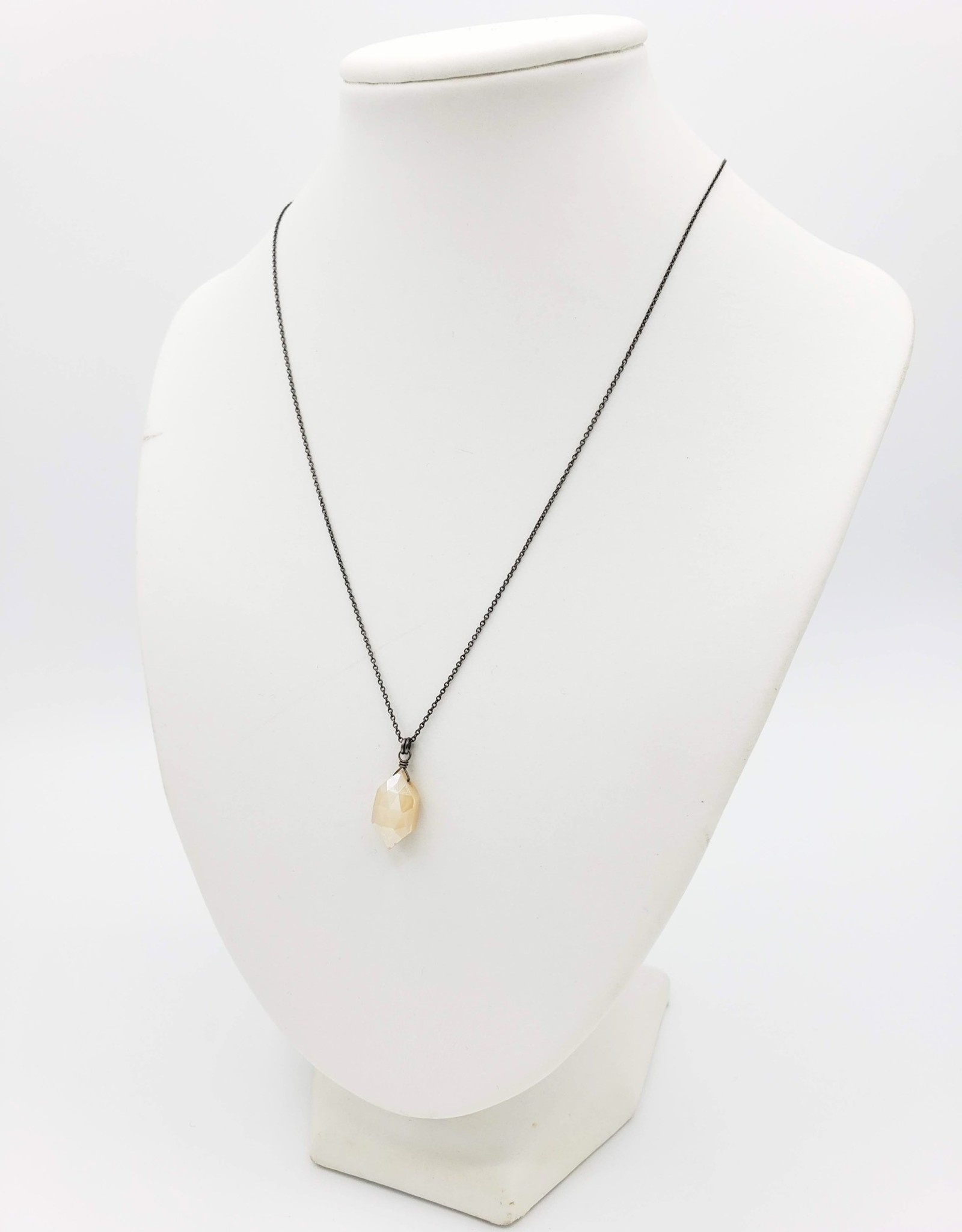 Moonstone Collection - Hexagon Silver, Light Moonstone Necklace