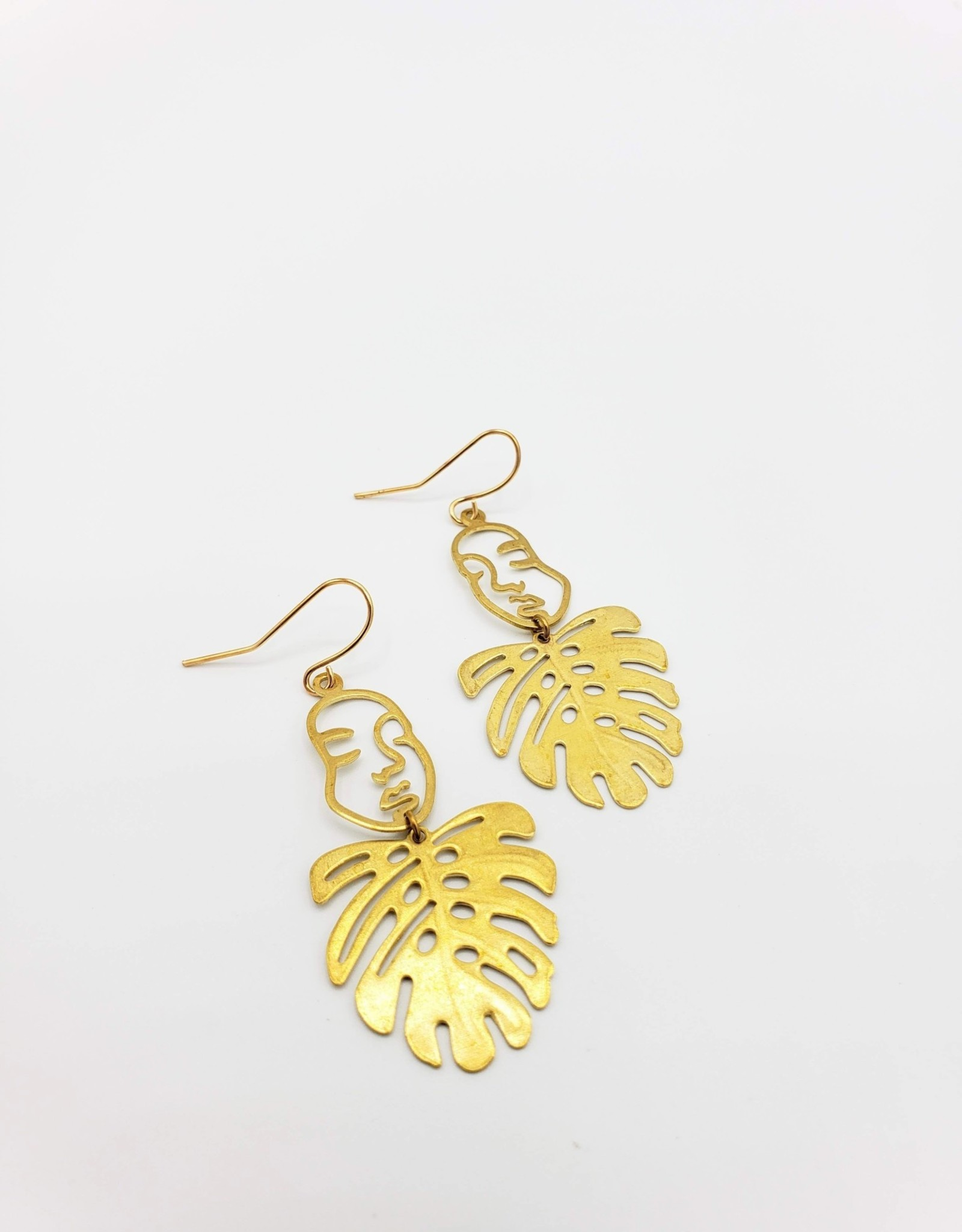"Kirsten Elise Jewelry ""Plant Lady"" Face with Monstera Leaf Earrings"