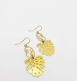 "Kirsten Elise Jewelry Small Female Face with monstera Earrings, ""Plant Lady"""