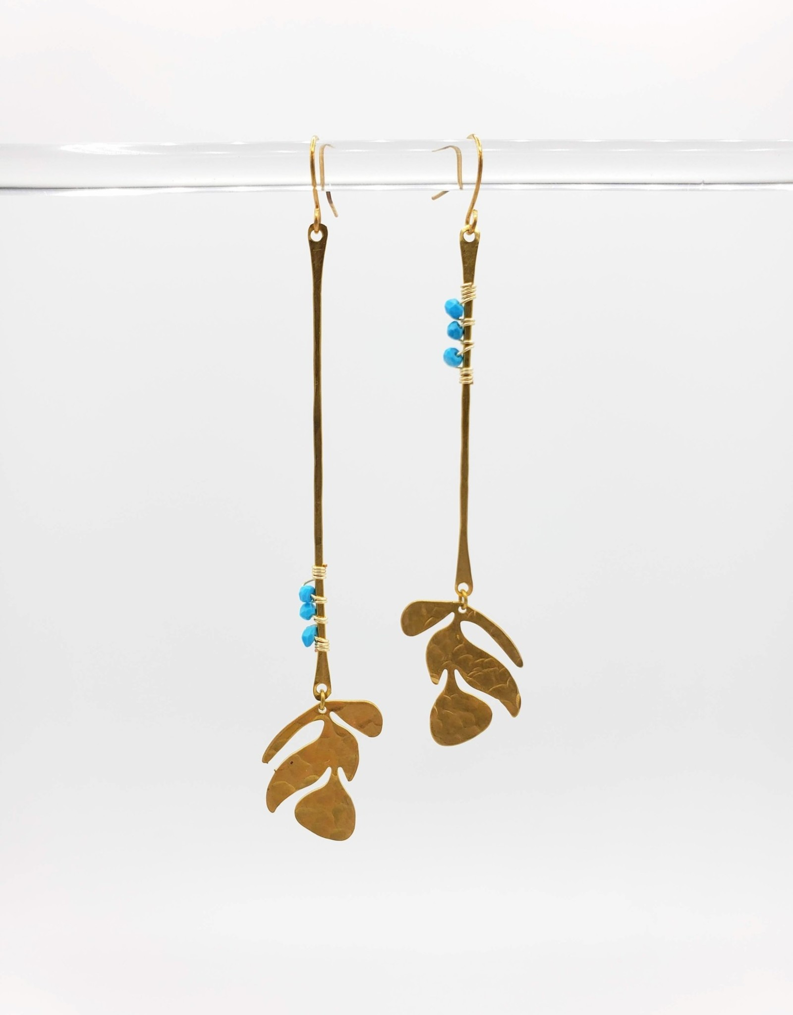 Kirsten Elise Jewelry Wrapped Leaf Earrings with Turquoise