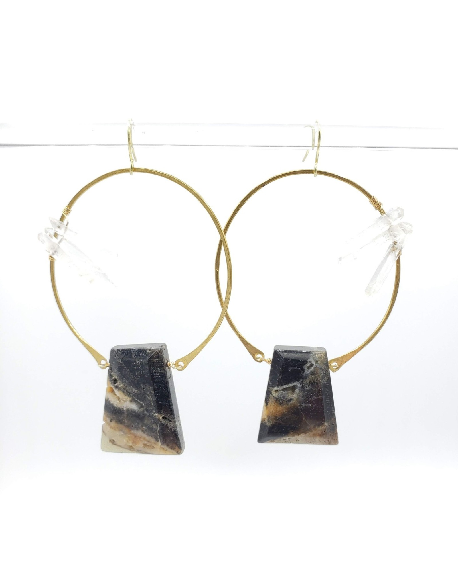 Kirsten Elise Jewelry Large Circle Earring with Crystal Spears and Agate Trapezium