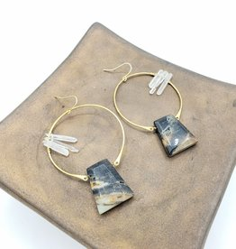 Kirsten Elise Jewelry Large Gemstone Hoop Earrings (Quartz, Agate)