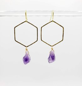 Kirsten Elise Jewelry Small Open Hexagon Earrings with Amethysts