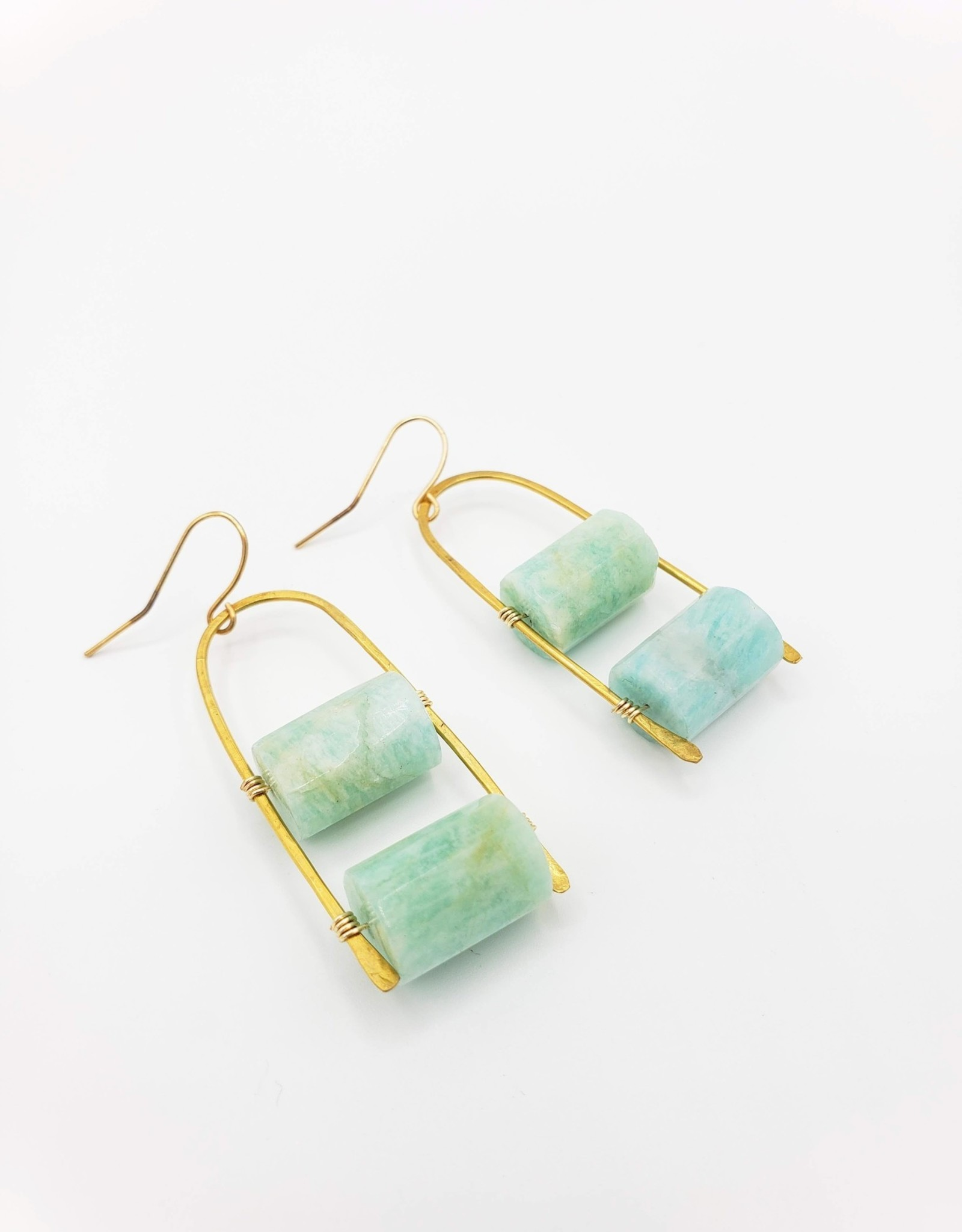 Kirsten Elise Jewelry Brass Arc Earrings with Amazonite