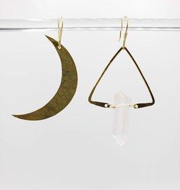 Kirsten Elise Jewelry Asymmetrical Moon and Quartz Earrings