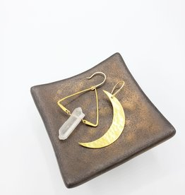 Kirsten Elise Jewelry Asymmetrical Moon and Quartz Earrings