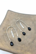 Kirsten Elise Jewelry Arch Earrings with Onyx and Quartz, silver plated