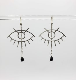 Kirsten Elise Jewelry Crying Eye Earrings in Sterling Silver with Onyx