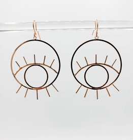 Kirsten Elise Jewelry Rose Gold Eye Earrings