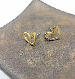 Kirsten Elise Jewelry Heart Stud Earrings- Brass