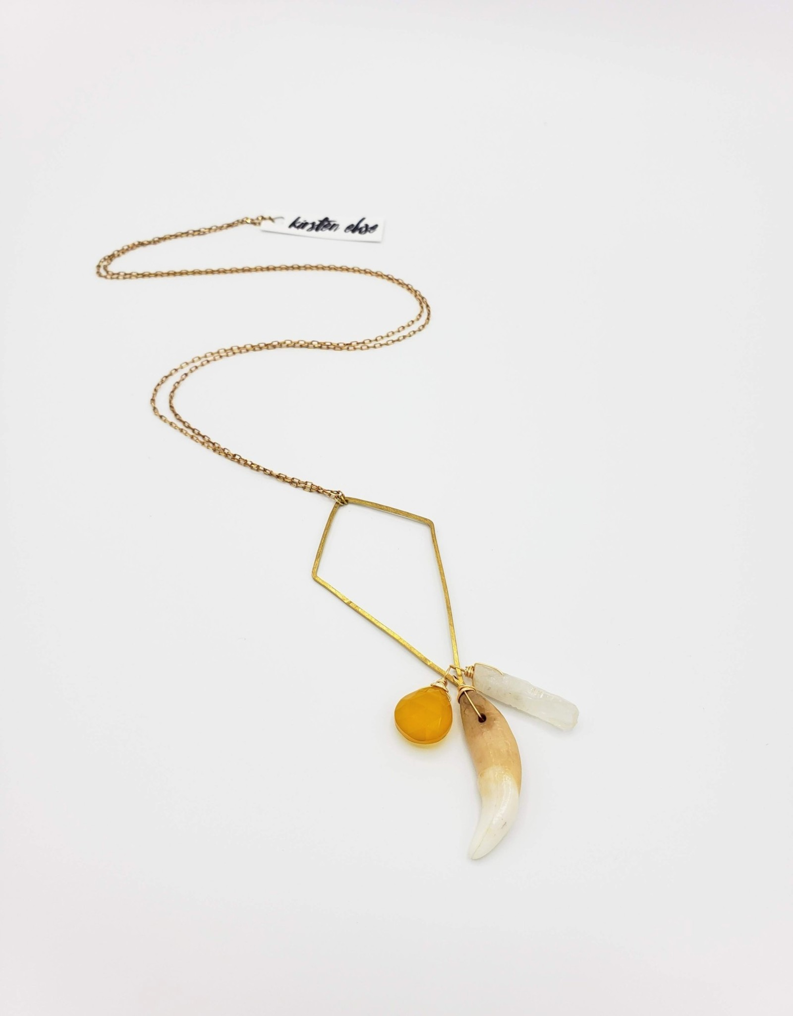 Kirsten Elise Jewelry Kite Shaped Necklace with Coyote Tooth, Quartz and Chalcedony