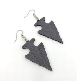 Green Tree Jewelry Laser Cut Wood Earring - Black Arrowhead