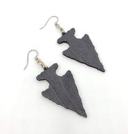 Green Tree Jewelry Laser Cut Wood Earrings - Black Arrowhead