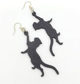 Green Tree Jewelry Laser Cut Wood Earring - Black Cats Leaping