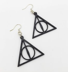 Green Tree Jewelry Laser Cut Wood Earring - Black Harry Potter