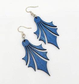 Green Tree Jewelry Laser Cut Wood Earring - Blue Dropped Point Earrings