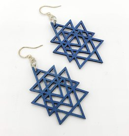 Green Tree Jewelry Laser Cut Wood Earring - Blue Transposed Triangles