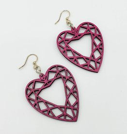 Green Tree Jewelry Laser Cut Wood Earring - Faceted Red Heart