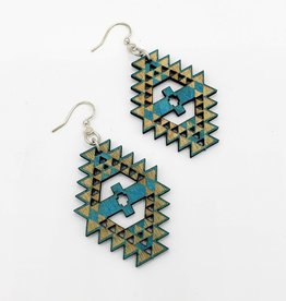 Green Tree Jewelry Laser Cut Wood Earring - Navajo Pattern in Blue and Natural