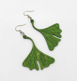 Green Tree Jewelry Laser Cut Wood Earring - Green Ginkgo Leaf
