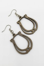 Green Tree Jewelry Laser Cut Wood Earring - Grey horseshoes