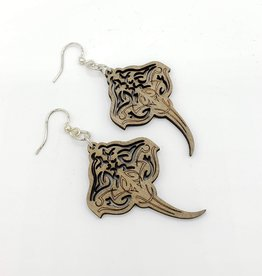 Green Tree Jewelry Laser Cut Wood Earring - Grey Stingray