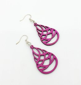 Green Tree Jewelry Laser Cut Wood Earring - Hot Pink Textured Teardrop