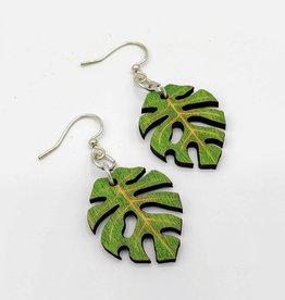Green Tree Jewelry Laser Cut Wood Earring - Monstera Leaf