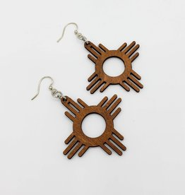 Green Tree Jewelry Laser Cut Wood Earring - New Mexico Sun