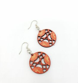Green Tree Jewelry Laser Cut Wood Earring - Orange Cherry Blossoms