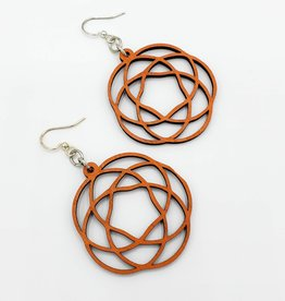 Green Tree Jewelry Laser Cut Wood Earring - Orange Rosette