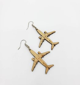 Green Tree Jewelry Laser Cut Wood Earring - Airplane in Natural Wood