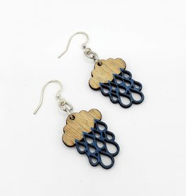 Green Tree Jewelry Laser Cut Wood Earring - Tiny Raincloud