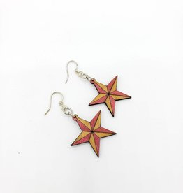 Green Tree Jewelry Laser Cut Wood Earring - Red Nautical Star