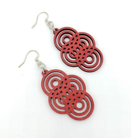 Green Tree Jewelry Laser Cut Wood Earring - Red Overlapping Circle