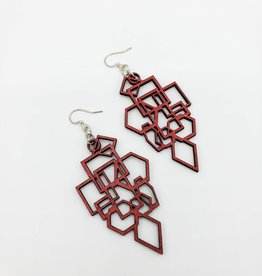 Green Tree Jewelry Laser Cut Wood Earring - Red Diamond and Square
