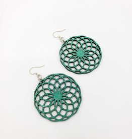 Green Tree Jewelry Laser Cut Wood Earring - Turquoise Spirograph