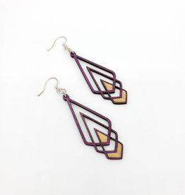 Green Tree Jewelry Laser Cut Wood Earring - Purple Chevron Deco