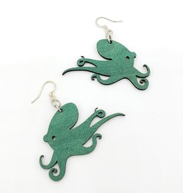 Green Tree Jewelry Laser Cut Wood Earring - Teal Octopus