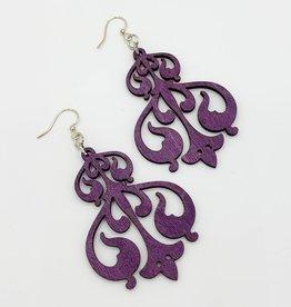 Green Tree Jewelry Laser Cut Wood Earring - Purple Rorschach Ink Design