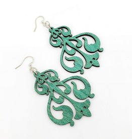 Green Tree Jewelry Laser Cut Wood Earring - Turquoise Rorschach Ink Design