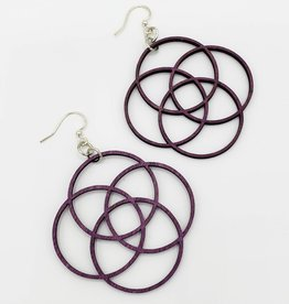 Green Tree Jewelry Laser Cut Wood Earring - Purple Four Circles Overlapping