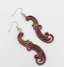 Green Tree Jewelry Laser Cut Wood Earring - Red Paisley Leaf