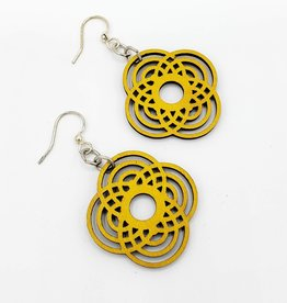 Green Tree Jewelry Laser Cut Wood Earring - Yellow Small Diamond Half Circle