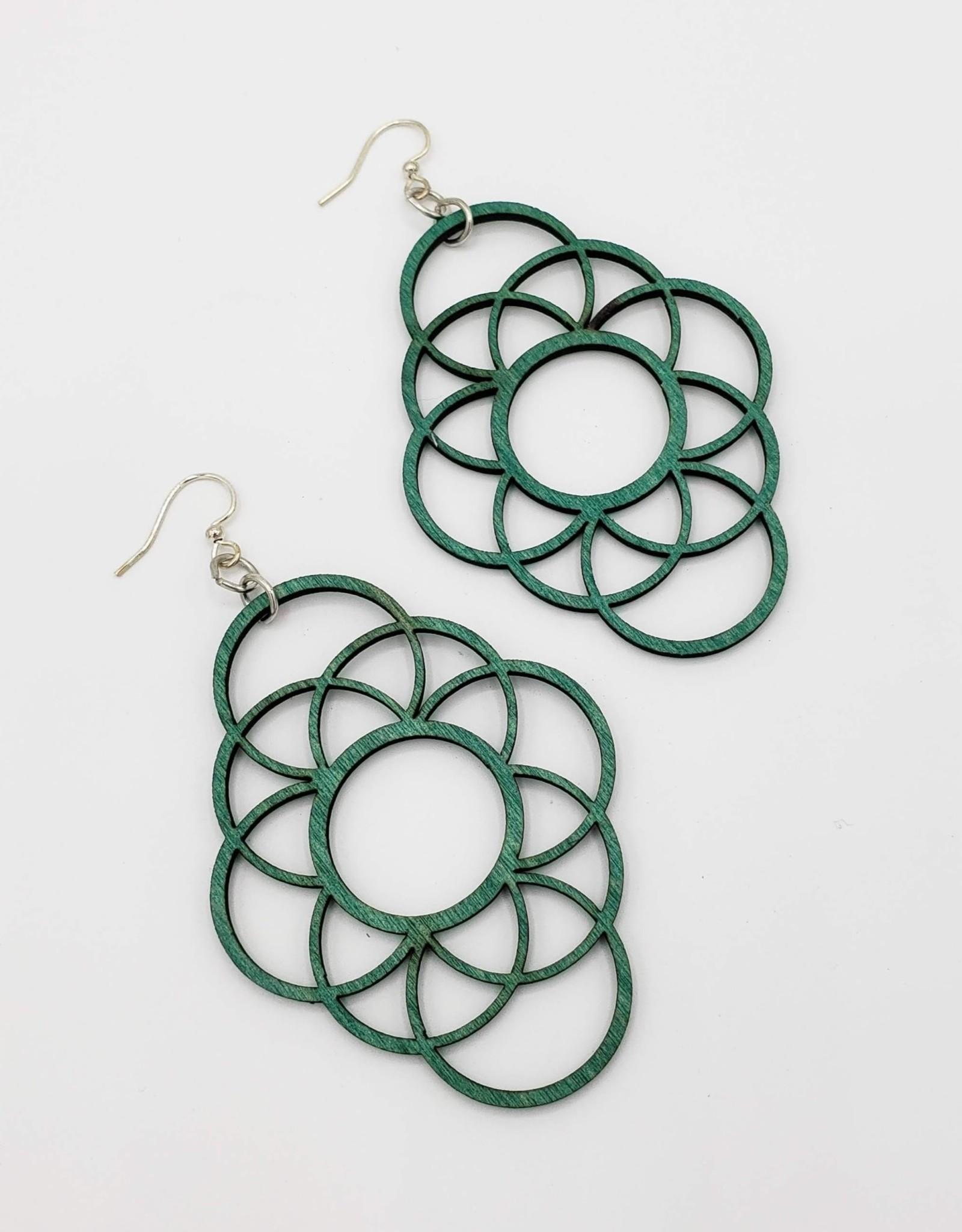 Green Tree Jewelry Laser Cut Wood Earring - Teal Long Circle Oblong