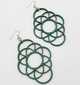 Green Tree Jewelry Laser Cut Wood Earring - Teal Long Circle Oblong