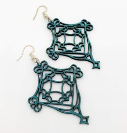 Green Tree Jewelry Laser Cut Wood Earring - Teal Fretwork